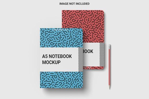 Vista dall'alto su notebook avvolgere mockup