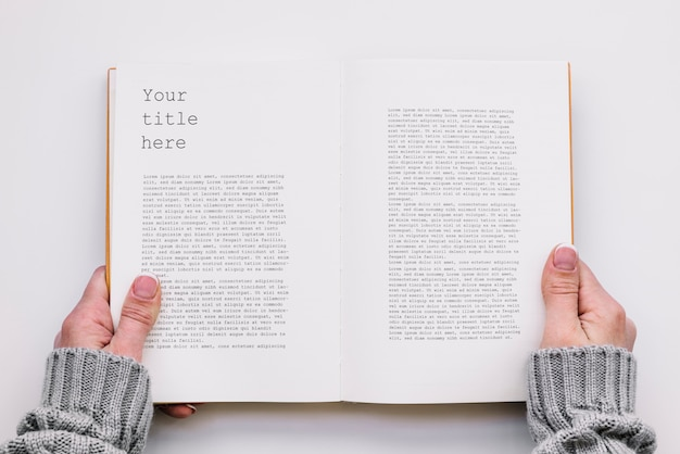 Mockup del libro aperto di vista superiore