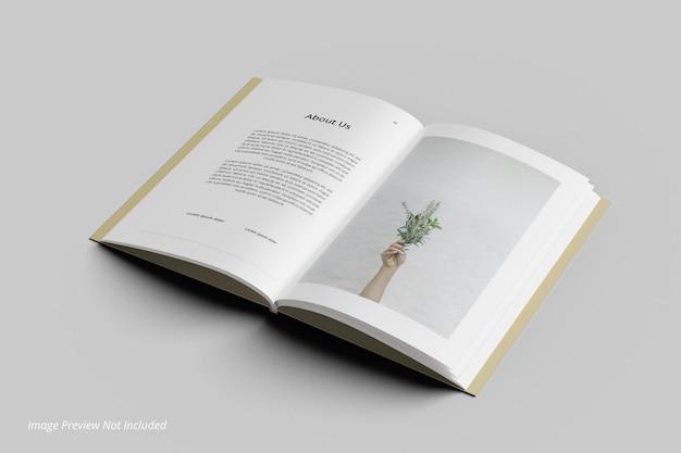 Mockup di rivista editoriale di libri aperti vista dall'alto
