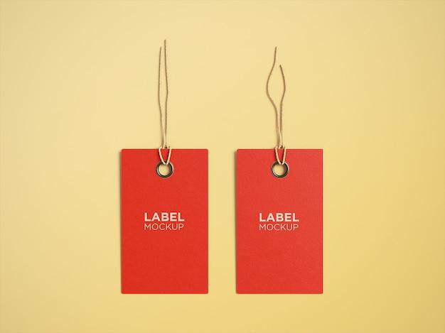 Set di mockup di etichette di carta vista dall'alto isolato