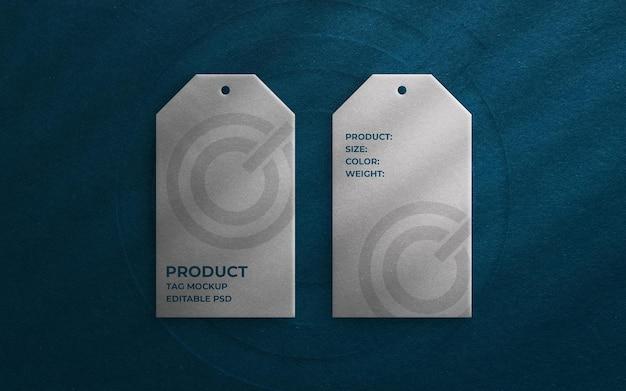 Vista dall'alto sul mockup del tag del prodotto