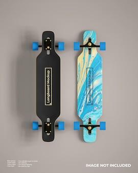 Vista dall'alto del mockup realistico di longboard