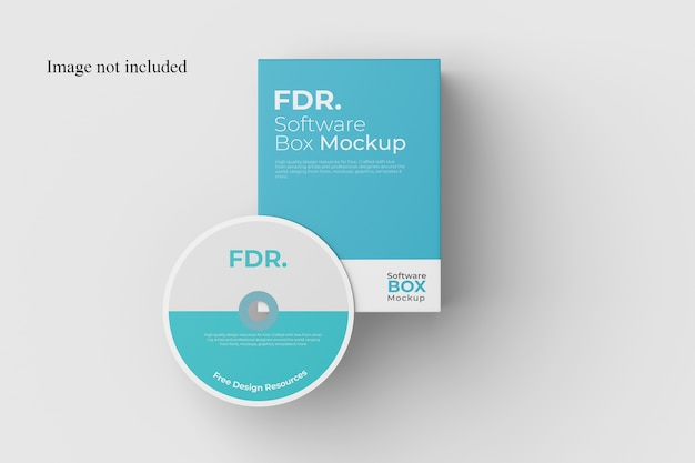 Top view software box mockup