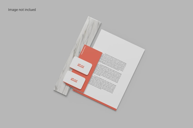 Top view stationery mockup design