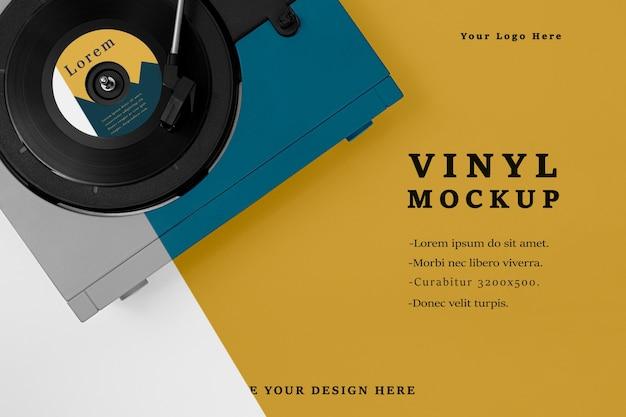 Assortimento di mock-up di dischi in vinile con vista dall'alto