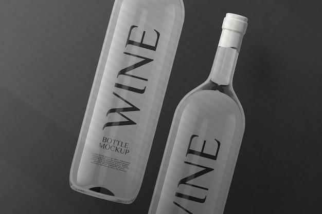 Design mockup bottiglia di vino bianco vista dall'alto isolato