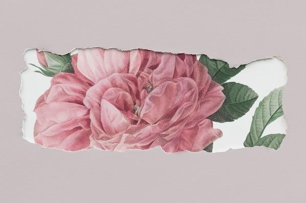Disegno di mockup banner floreale strappato