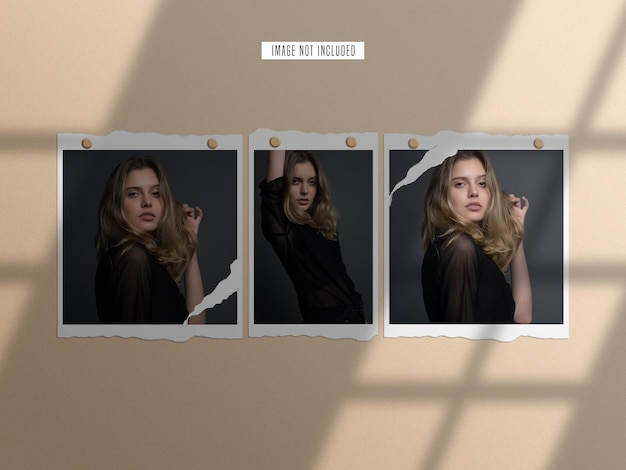 Set di mockup di cornice per foto di carta strappata