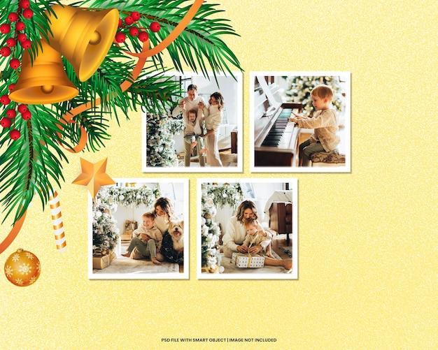 Modello di polaroid con cornice per foto strappata mockup di natale e capodanno psd premium