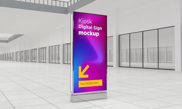 Totem e segnaletica digitale del chiosco 3d rendering mockup