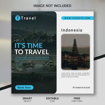 Modello di post social media di viaggio tour