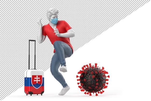 Turista in viaggio in slovacchia spaventato dalla molecola del virus. concetto di pandemia. illustrazione 3d