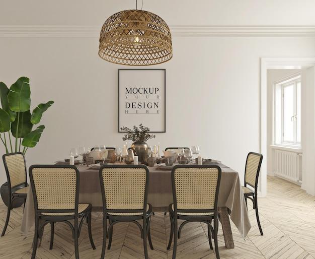 Sala da pranzo classica tradizionale con mockup di poster