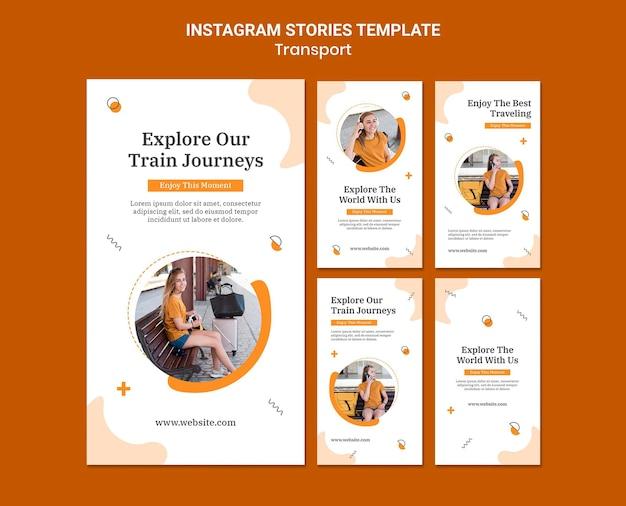 Modello di storie di instagram di viaggi in treno