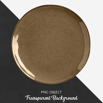 Piatto rotondo in ceramica o porcellana marrone trasparente