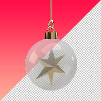 Sfera di natale trasparente con stella d'oro isolata