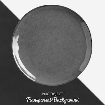 Piatto rotondo in ceramica o porcellana grigio trasparente