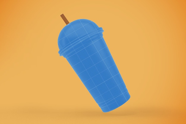 Mockup di bicchiere di plastica trasparente