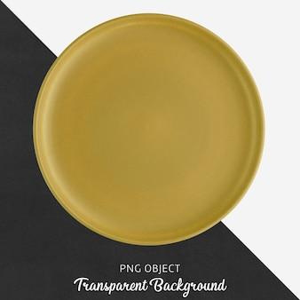 Piatto rotondo in ceramica o porcellana trasparente giallo zafferano