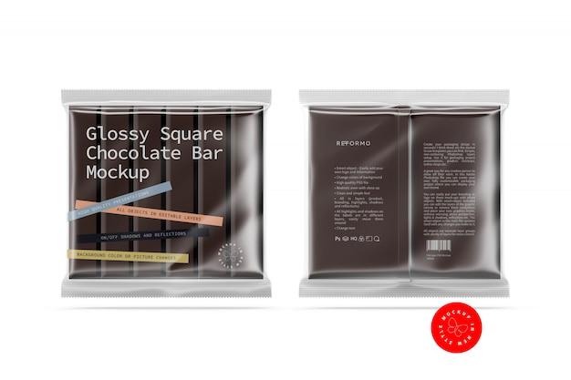 Mockup quadrato trasparente con barretta di cioccolato