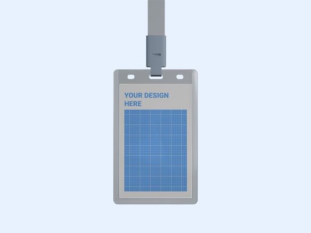 Mockup di porta carte d'identità verticale trasparente