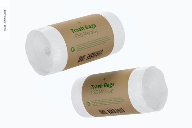 Mockup di sacchetti della spazzatura galleggiante