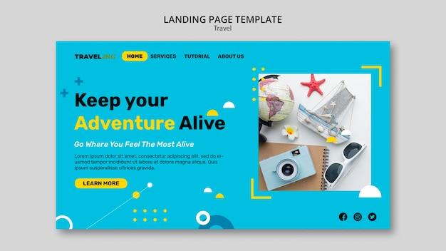 Modello web di avventura di viaggio