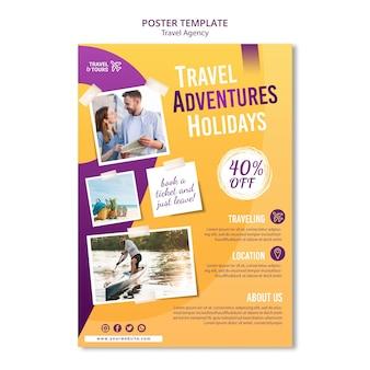 Modello di volantino pubblicitario per agenzia di viaggi