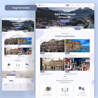 Pagina di destinazione web dell'agenzia di viaggi