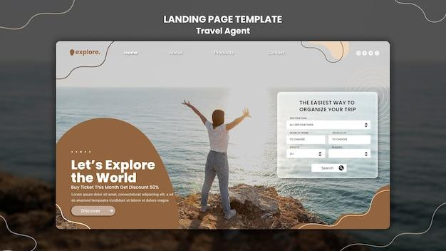 Modello di pagina di destinazione del concetto di agente di viaggio Psd Premium