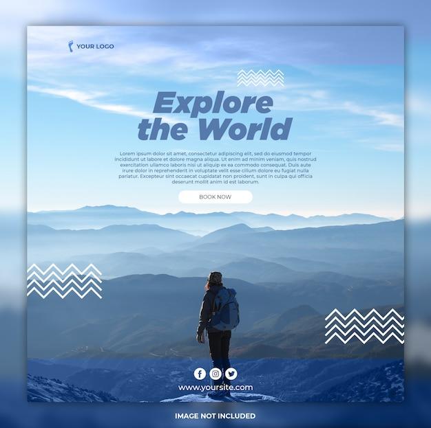 Modelli di instagram di avventura banner di viaggio