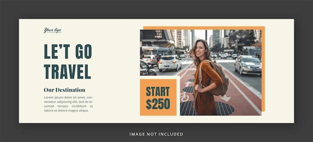 Pagina di copertina di facebook di viaggio e modello di progettazione di banner web