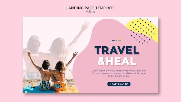 Modello di pagina di destinazione per le vacanze di viaggio