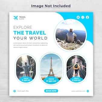 Banner web post di social media di vacanza di viaggio di vacanza