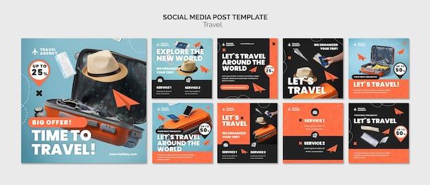 Modello di progettazione di post sui social media di viaggio insta