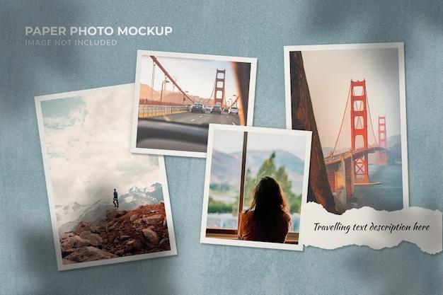 Mockup di foto di carta da viaggio