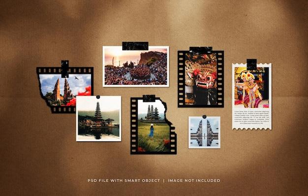 Set di cornici per foto da viaggio mockup di moodboard