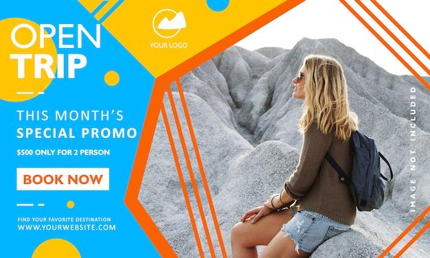 Modello di banner di promozione di viaggio