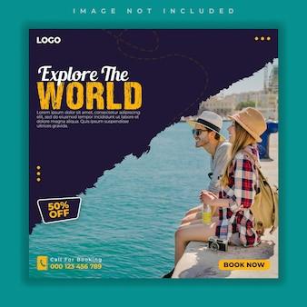 Modello di banner per post sui social media di viaggio