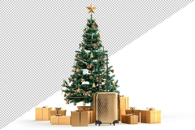 Valigia da viaggio, albero di natale e scatole regalo. concetto di viaggio di natale