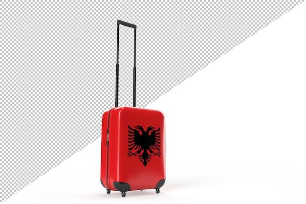 Valigia da viaggio con la bandiera dell'albania. concetto di viaggio. isolato. rendering 3d