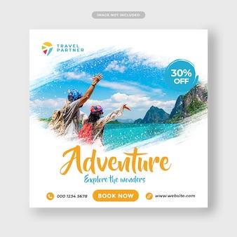 Travel tour instagram post banner o modello di volantino quadrato