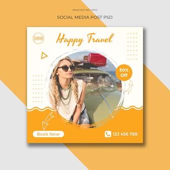 Modello di banner di social media di viaggi di viaggio