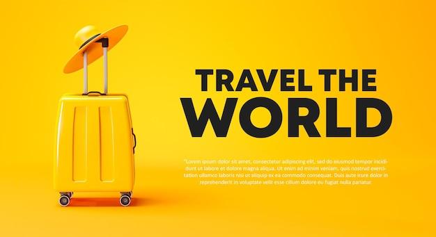 Travel the world campagna poster banner design bagaglio giallo e cappello 3d rendering