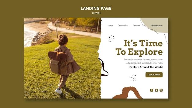Viaggia nel modello di pagina di destinazione del mondo Psd Premium