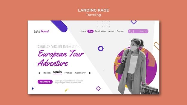 Pagina di destinazione in viaggio
