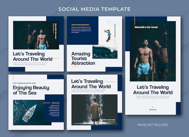 Modello di pacchetto di post sui social media in viaggio