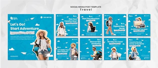 Post di viaggio sui social media