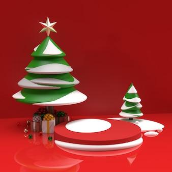 Albero con neve e regali scena di anteprima della fase di pubblicità realistica del prodotto