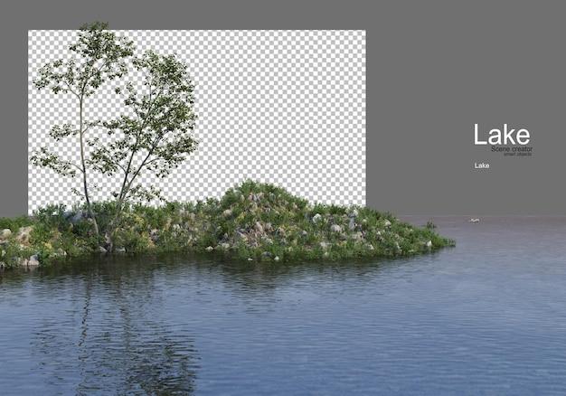 Alberi sulla collina erbosa in mezzo al lago